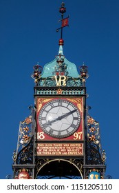 A close-up of the magnificent Eastgate Clock in the historic city of Chester in the UK.