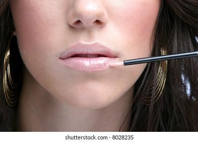 Closeup makeup of lips