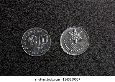 closeup of malaysia coins