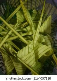 closeup for Malaysia food ketupat daun palas or ketupat pulut