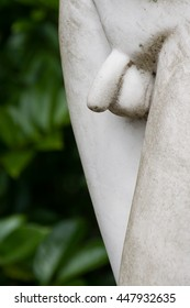 Close-up of male genitals. Public sculpture detail of a young man in Hillegom, The Netherlands.