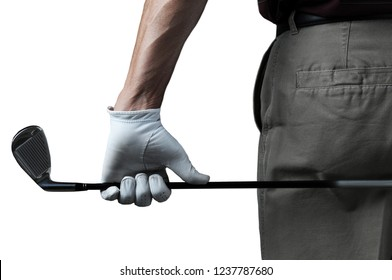 Closeup of a male golfer seen from behind holding a six iron, isolated on white.