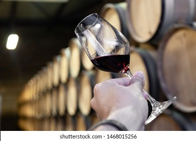 Closeup male hand with glass of red wine on background of cellar with wooden oak barrels stacked in straight rows in order in old winery, vault. Concept professional degustation, winelover, sommelier
