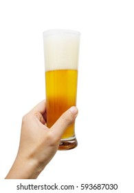 Closeup of a male hand holding up a glass of beer over a white background.