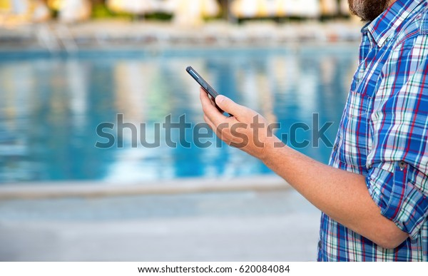 Closeup Male Hand Holds Smart Phone Stock Photo (Edit Now ...