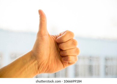 Closeup of male hand showing thumbs up sign against natural light background. Caucasian hand, success and approve concept