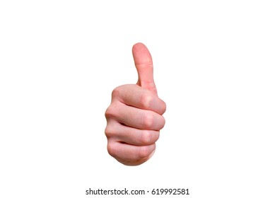 Closeup of male hand showing thumbs up sign against isolated on white background