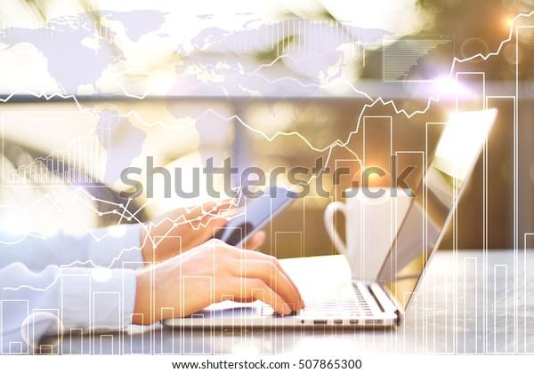 Closeup Male Hands Using Laptop Smartphone Stock Photo