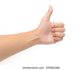 Closeup of male left hand showing thumbs up sign against white background