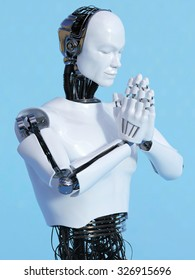 A closeup of a male robot doing a namaste greeting, image 4. Blue background.