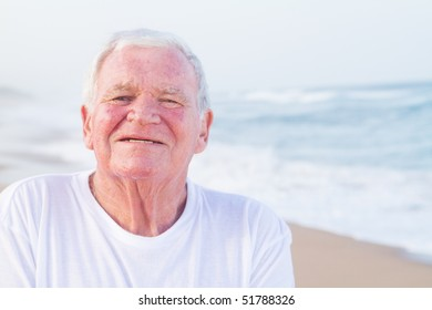 closeup of male senior citizen on beach
