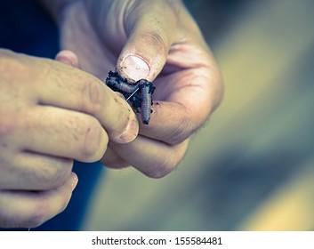 Closeup of man baiting a fishing hook