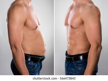 Close-up Of A Man Before And After Loosing Fat On Grey Background