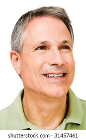 Close-up of a man day dreaming and smiling isolated over white