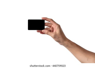 Close-Up of man hand holding blank empty credit card or business card., Isolated on white background.