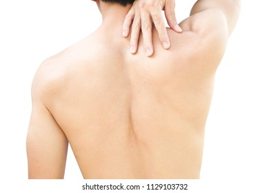 Closeup man hand holding neck or shoulder with pain on white background