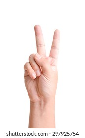 Closeup of man hand with two fingers up isolated on white background  for counting sign of number 2