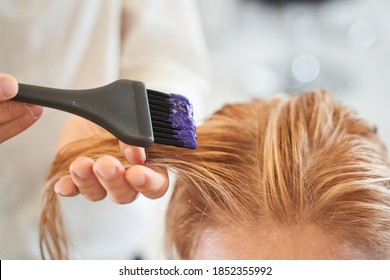 Closeup man hands dyeing hair while using a black brush. Colouring of white hair at salon. Beauty care, hairstyling, fashion, lifestyle glamour concept