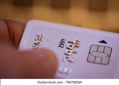 Closeup of man holding credit card