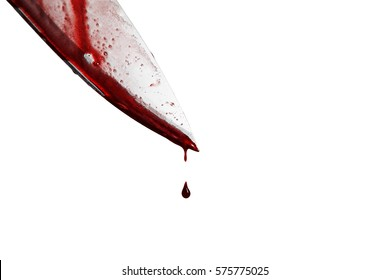 close-up of man holding knife smeared with blood and still dripping., Isolated on white background.