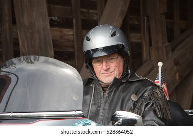 Closeup of man on a motorcycle
