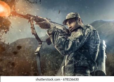 Close-up of man shooting with machine gun