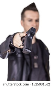 Close-up of man surrendering and handing over his gun.