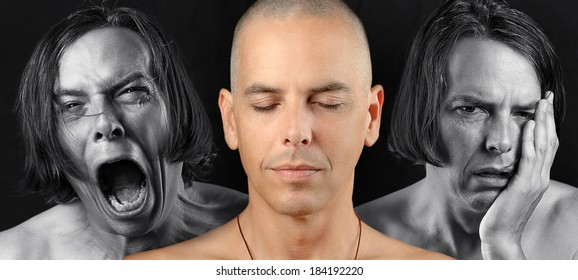 Close-up of a man in three conflicting emotional states: calm / meditative, pain, and depression. Pain and depression are in black and white. The meditative state is in color.