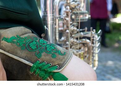 Close-up of man in traditional bavarian Lederhosen