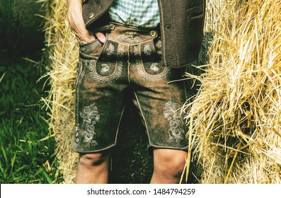 Close-up of man in traditional bavarian Lederhosen