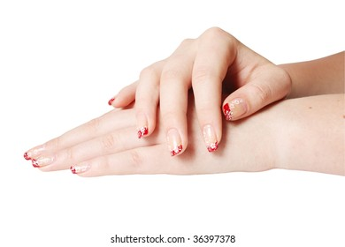 Close-up of manicure is isolated on white background.
