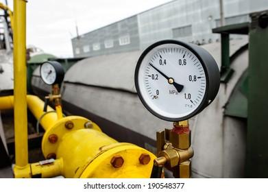 Closeup of Manometer of an air compressor