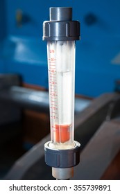 Closeup of manometer on valve test bench