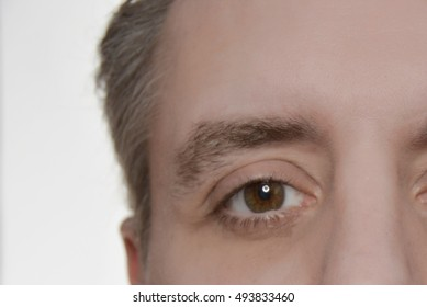 closeup of a mans face with brown eyes and white background