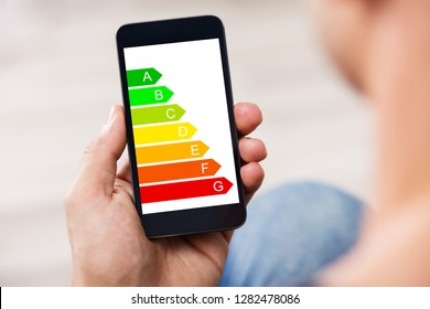 Close-up Of A Man's Hand Holding Cellphone With Energy Efficiency Chart On Screen