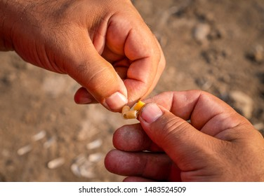 Closeup of man's hands baiting a fishing hook with pasta pieces for carp