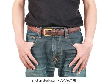 close-up of man's right hand resting at the side of his jeans isolated on white background