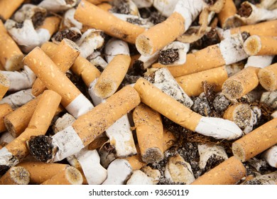Closeup of many cigarettes in an ashtray