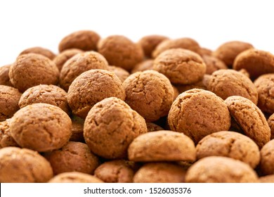Close-up of many dutch ginger nuts candy. Also known as pepernoten or kruidnoten for the Dutch annual children's feast Sinterklaas on the 5th of december. Isolated on top for copy space.