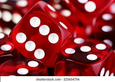 closeup of many red transparent dices