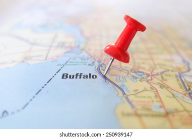 Closeup of a map of Buffalo New York with red pin