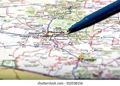 Closeup map of city Phoenix for travel destination driving
