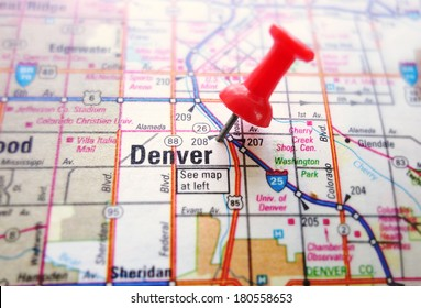 Closeup of a map of Denver with red push pin