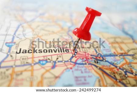 Map Jacksonville Florida.Closeup Map Jacksonville Florida Red Pin Stock Photo Edit Now