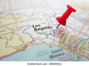 Closeup of a map of Los Angeles, California with red pin