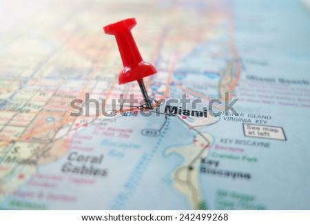 Map Miami Florida.Closeup Map Miami Florida Red Pin Stock Photo Edit Now 242499268