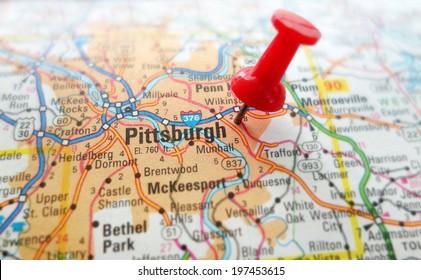 Closeup of a map of Pittsburgh Pennsylvania