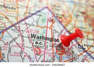 Closeup of a map of Washington DC with red pin