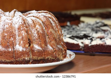 Close-up of marble cake with sugar topping