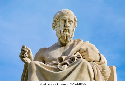 Close-up of a marble statue of the great Greek philosopher Plato.
